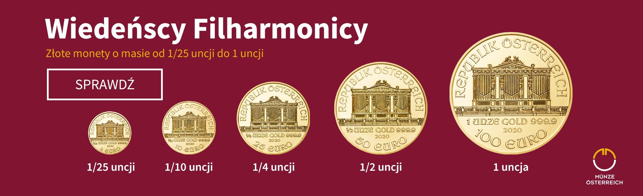 Złote monety o masie od 1/25 oz do 1 oz